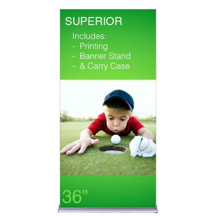 """Superior Retractable Banner Stand 36"""" Graphic Package"""