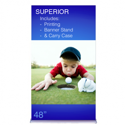 """Superior Retractable Banner Stand 48"""" Graphic Package"""