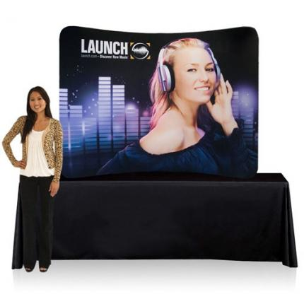 Slimline Fabric Display 8ft Curved Table Top Single Sided (Frame & Graphic)